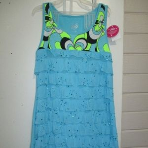 JUSTICE. NWT.GIRLS 12 DRESS.. BLUE. RUFFLED